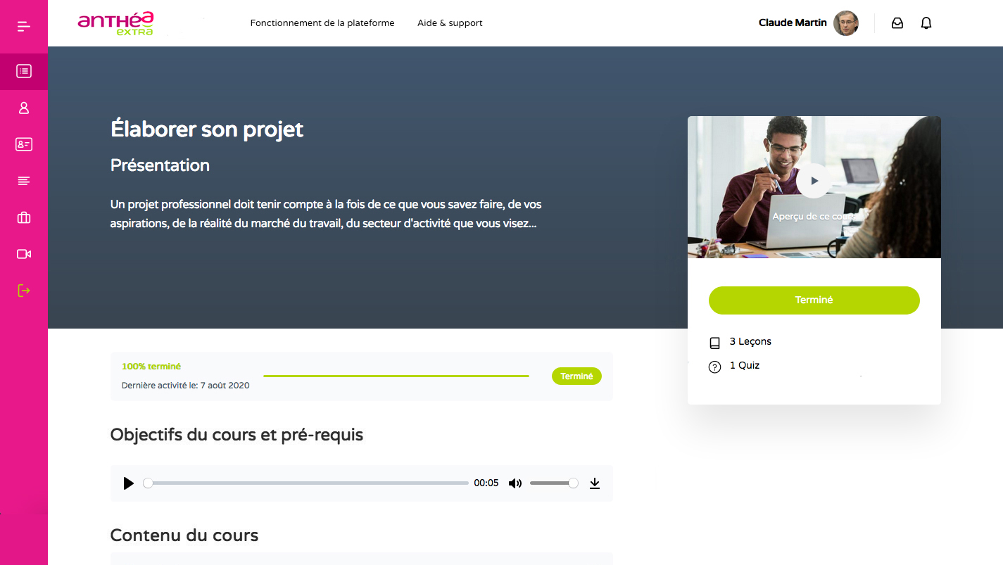 E-learning sur Anthea Extra