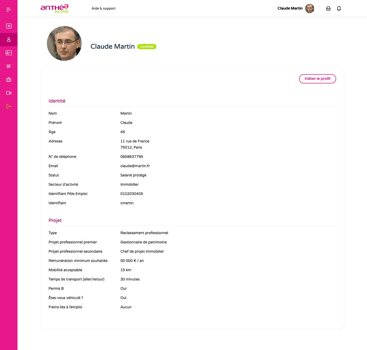 Profil candidat sur Anthea Extra